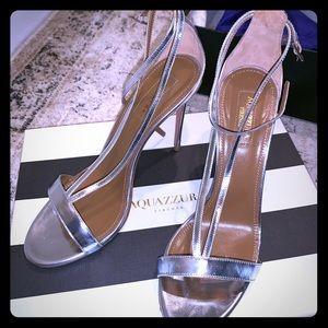 """Aquazzura """"Casanova"""" Silver Sandals 38"""